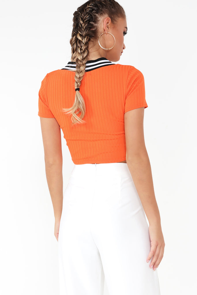 Cacia Orange V Neck Ruched Crop Top
