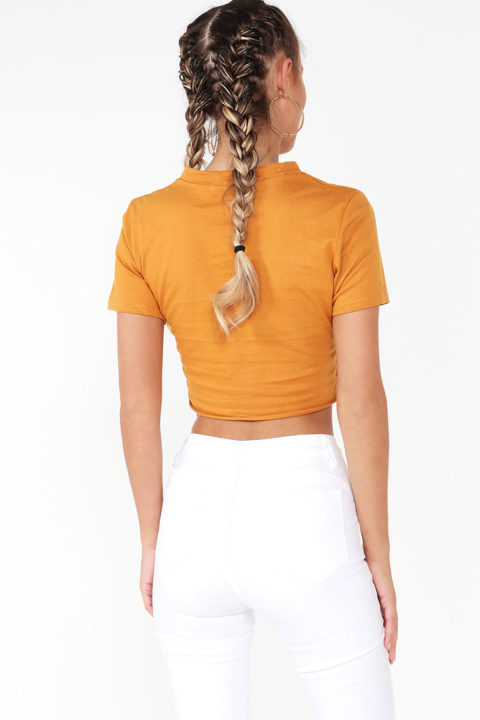 Cadell Mustard Slashed Detail Crop Top