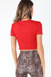 Cadell Red Slashed Detail Crop Top