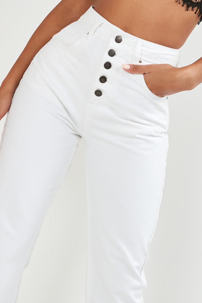 Cadence Cream High Waisted Mom Jeans