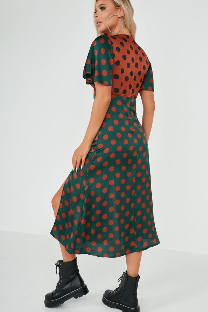 Cadence Green And Rust Polka Dot Midi Dress