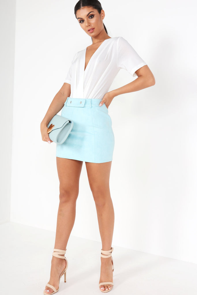 Caela Blue Suedette Mini Skirt