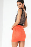 Caela Orange Suedette Mini Skirt