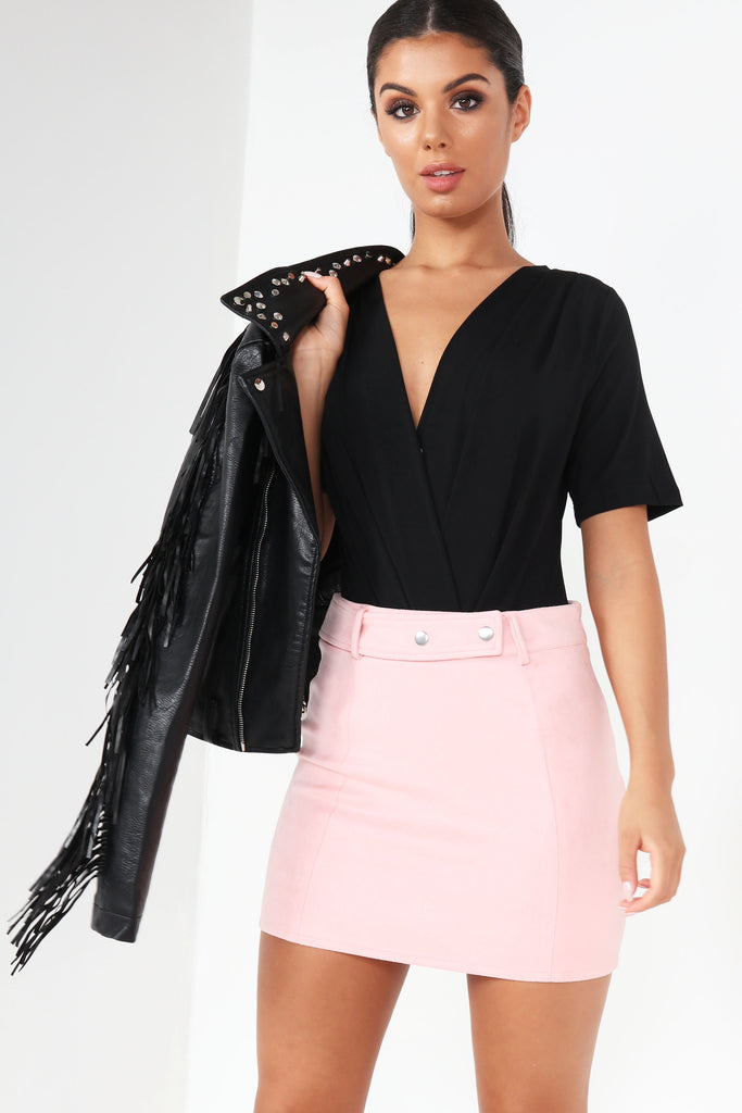 Caela Pink Suedette Mini Skirt
