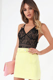 Caela Yellow Suedette Mini Skirt