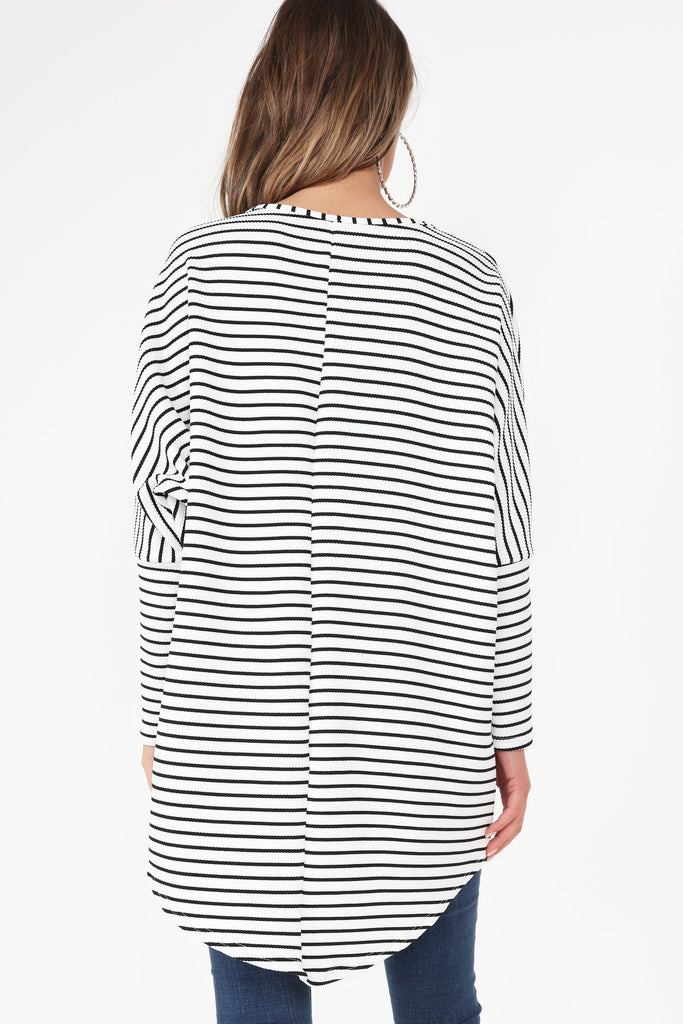 Caggie White and Black Striped Top