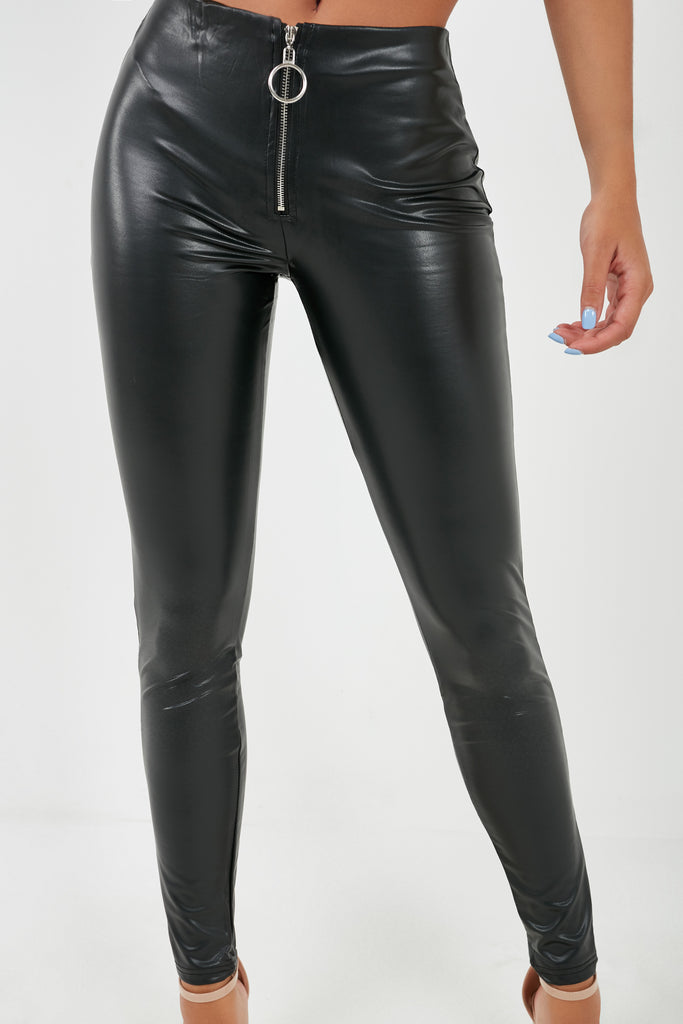 Cai Black Zip Front PU Leggings (2000264331330)