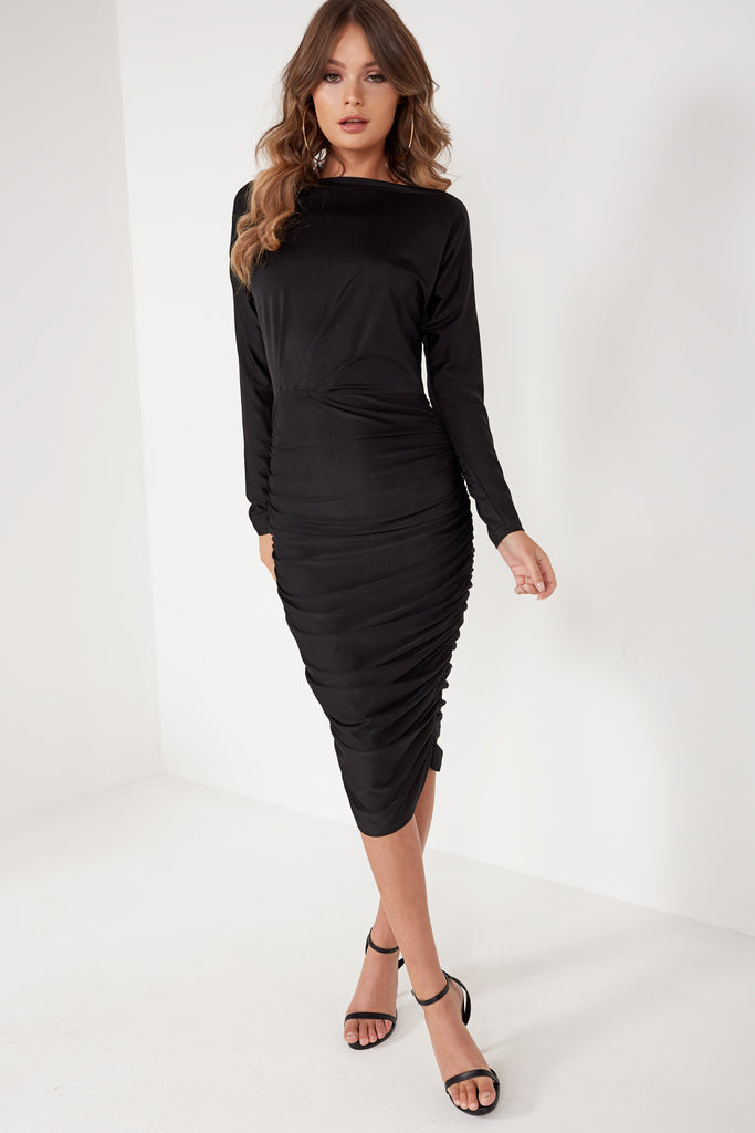 Calipsa Black Ruched Midi Dress
