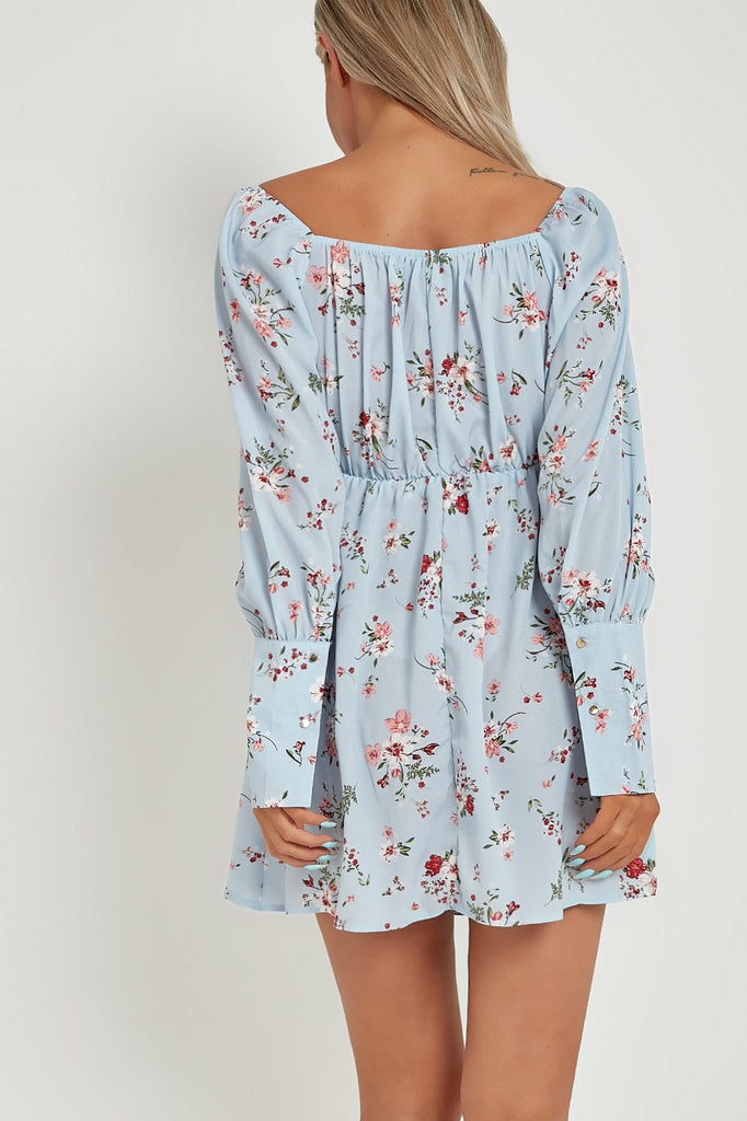 Calise Blue Floral Milkmaid Dress