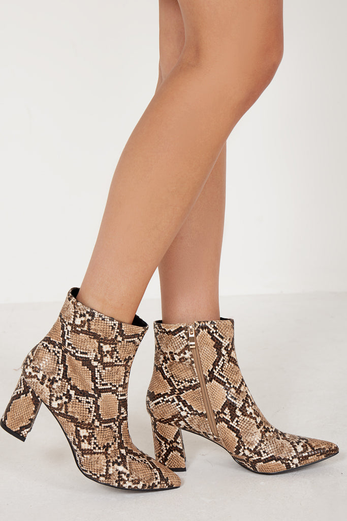 Camello Brown Snake Print Ankle Boot