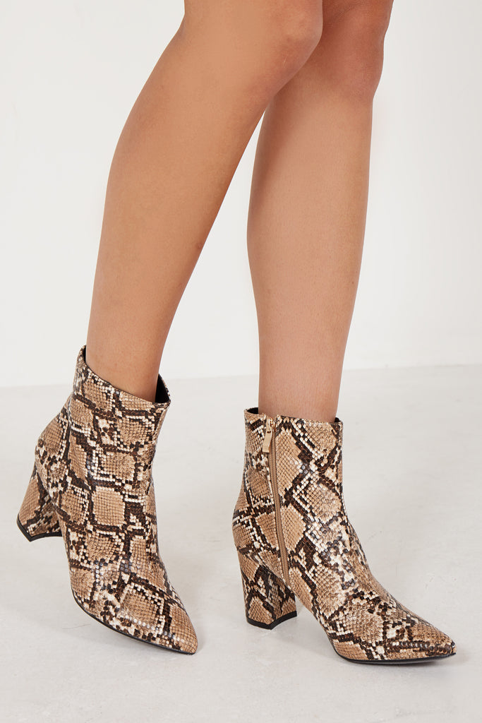 Camello Brown Snake Print Ankle Boot (1656655052866)