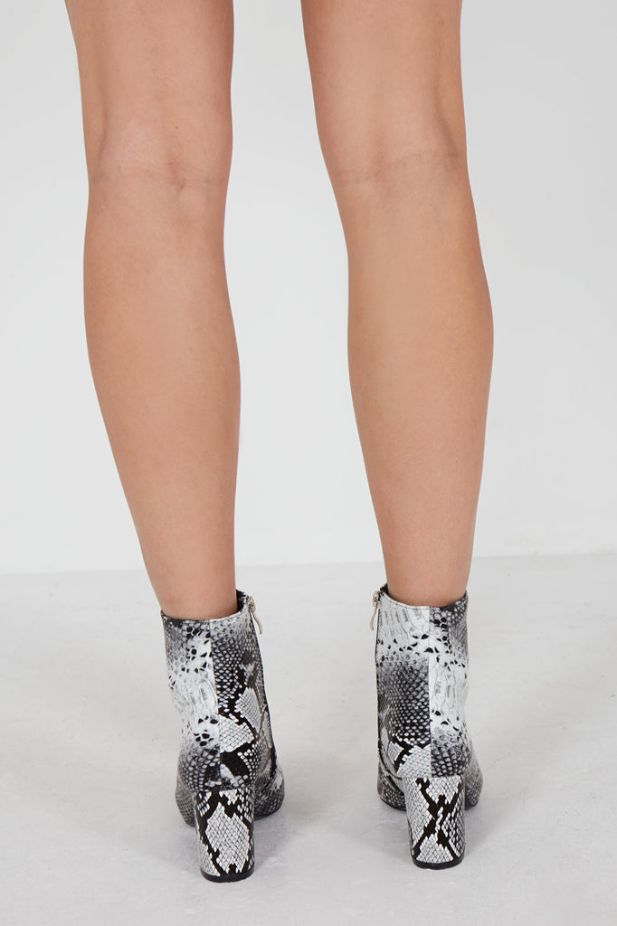 Camello Grey Snake Print Ankle Boot