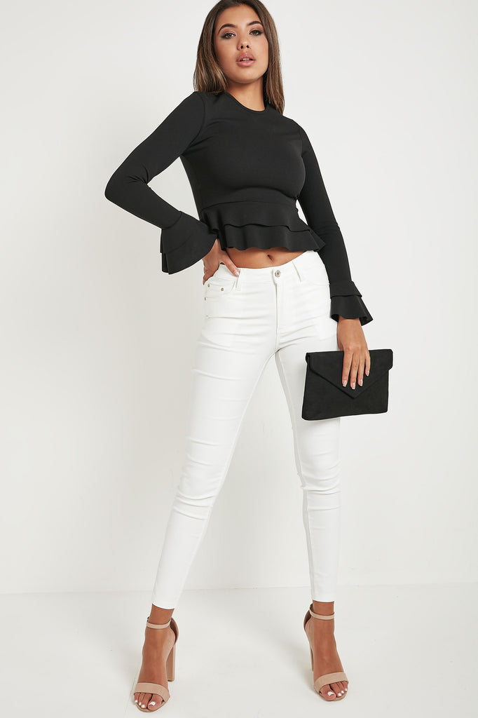 Cameron Black Long Sleeve Peplum Top
