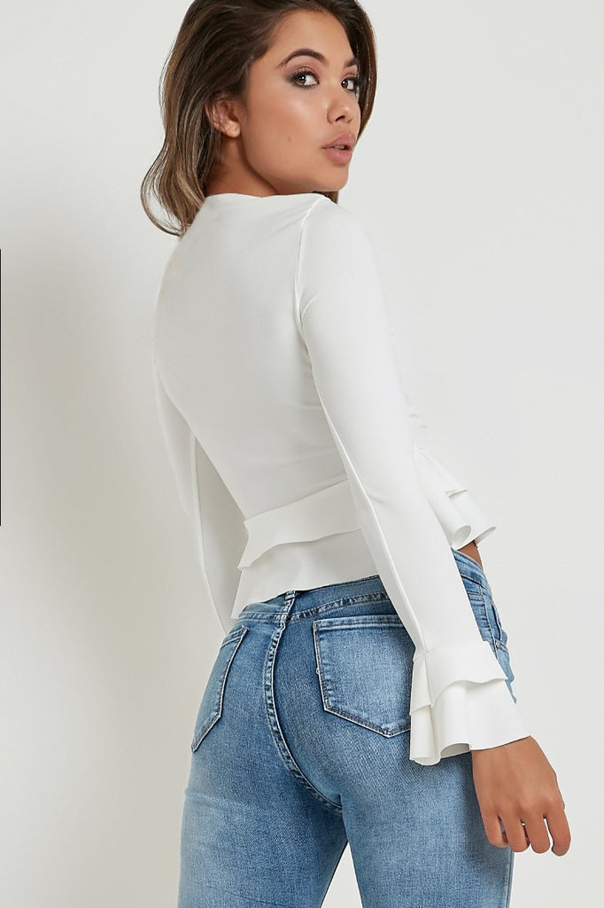 Cameron White Long Sleeve Peplum Top