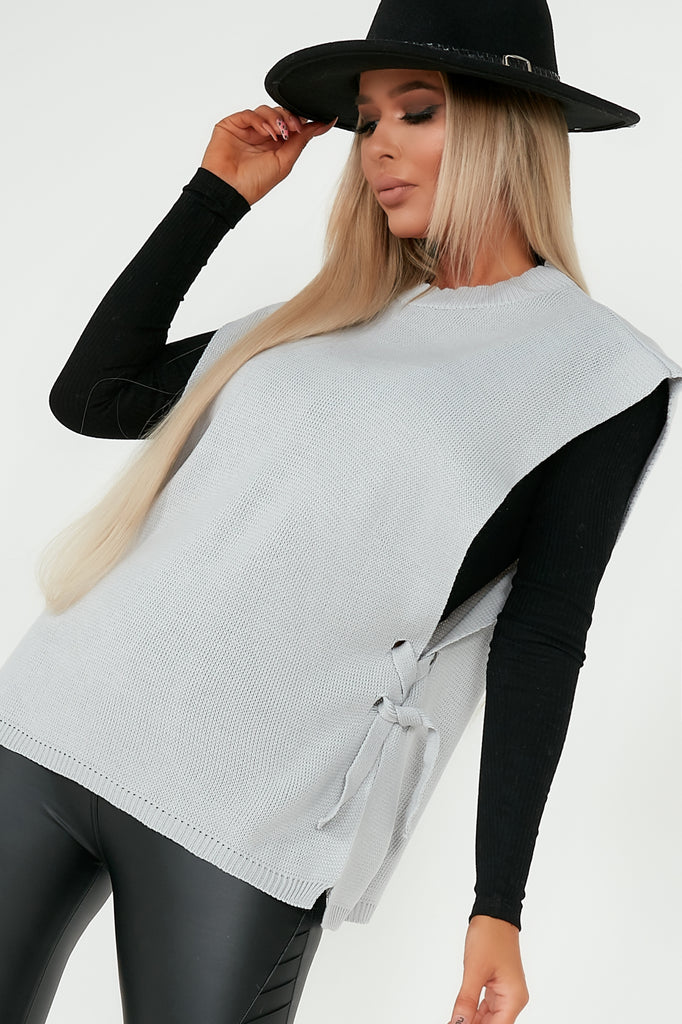Camilla Grey Knit Side Tie Top