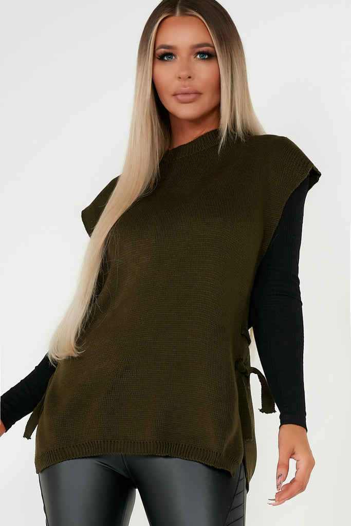 Camilla Khaki Knit Side Tie Top