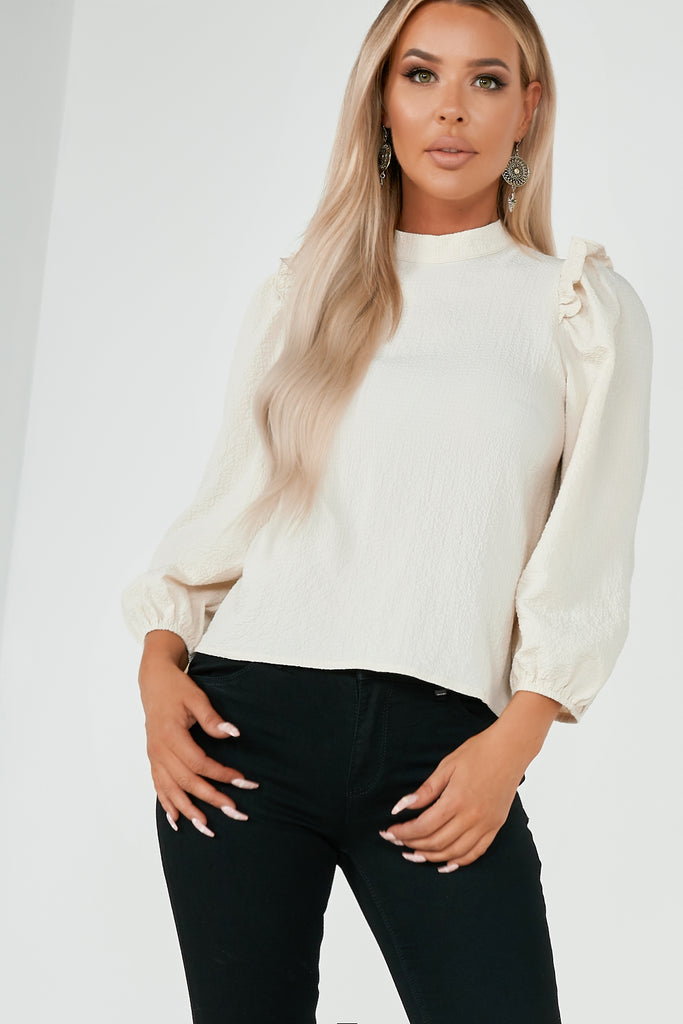 Candice Stone High Neck Puff Sleeve Top