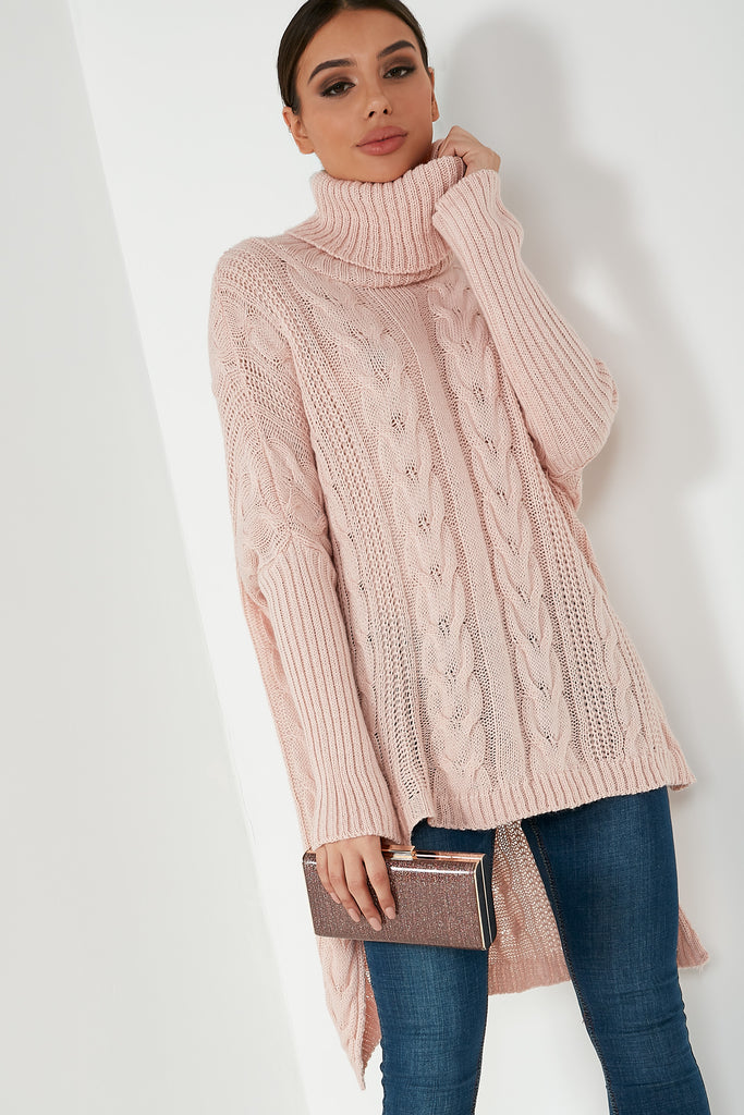 Caoimhe Pink Knit Cable High Low Jumper