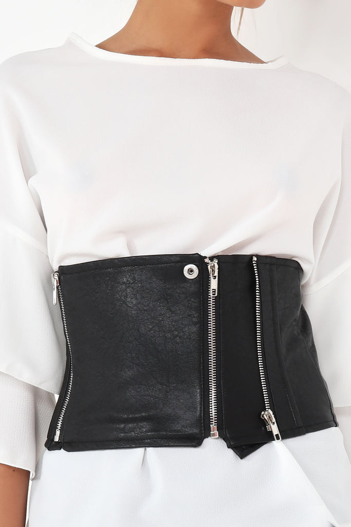 Cara Black Faux Lather Thick Belt