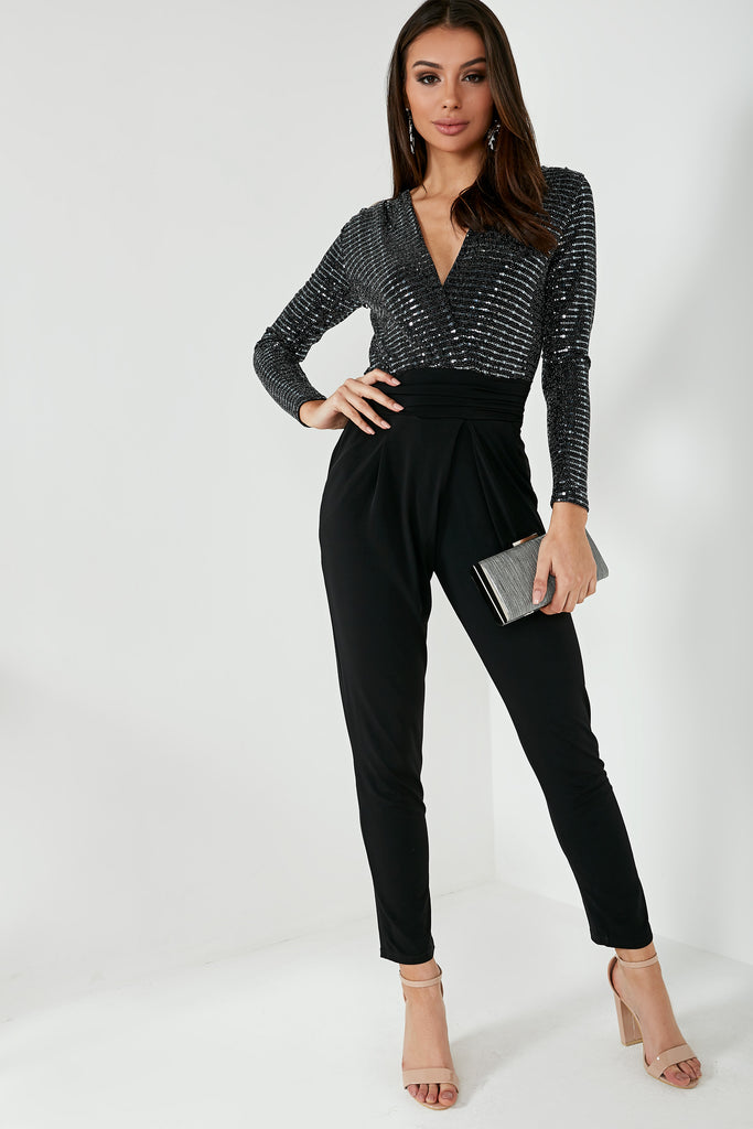 Cara Black Sequin Wrap Jumpsuit