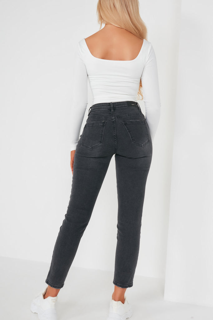 Carlise Faded Black Mom Jeans
