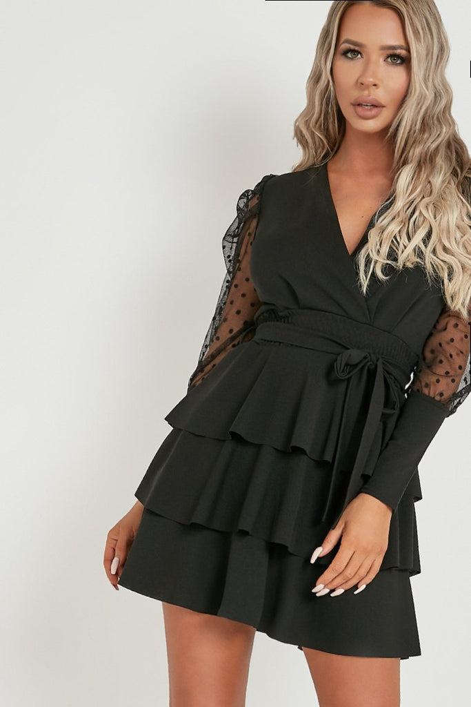 Carly Black Puff Sleeve Frill Wrap Dress