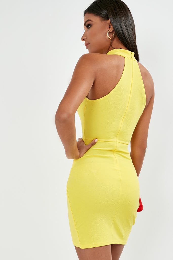 Carmella Yellow Bodycon High Neck Dress