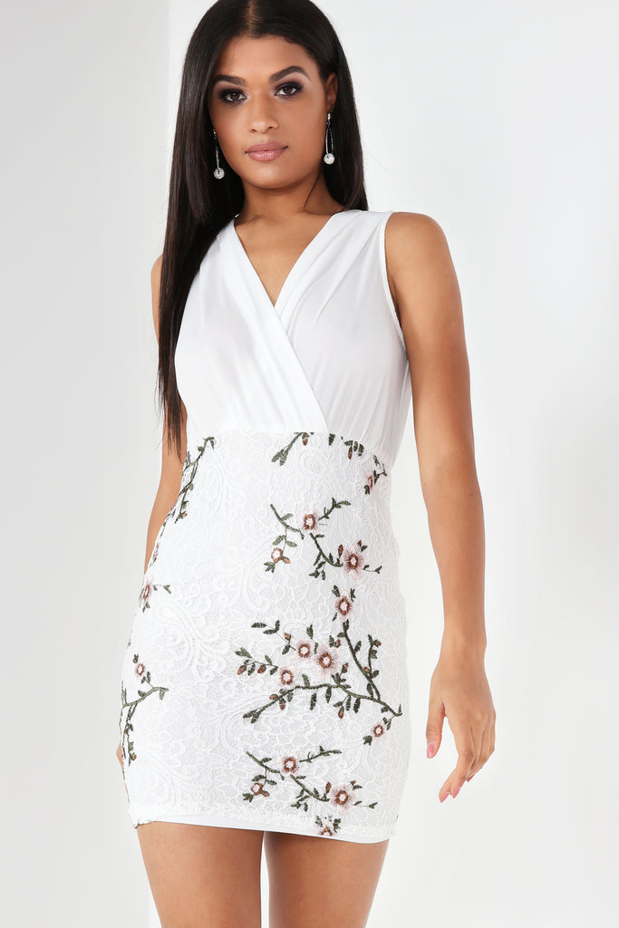 Carol White Embroidered Crochet Dress