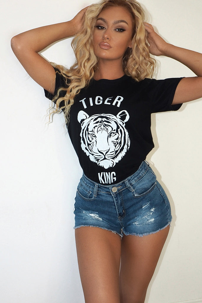 Carole Black Oversized Tiger King T-Shirt
