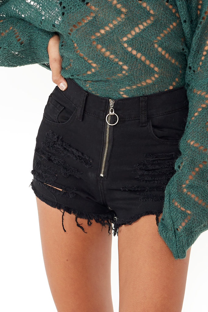Carrie Black Ripped Denim Shorts