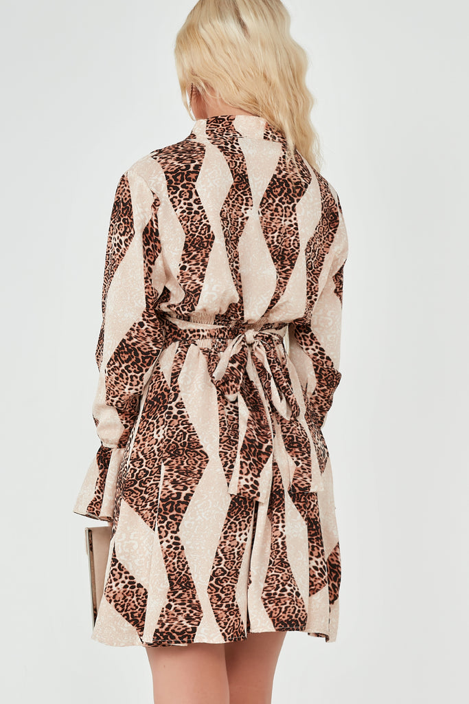 Carrie Nude and Leopard Print Shirt Dress
