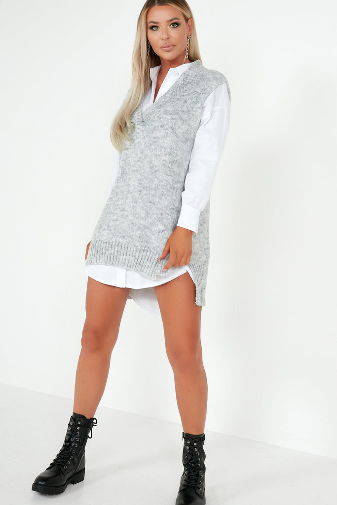 Casey Oatmeal Oversized Shirt & Knit Top