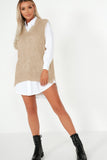 Casey Stone Oversized Shirt and Knit Top