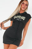 Cass Black 'Cleveland' Hooded T-Shirt Dress