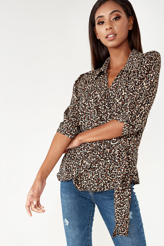 Cass Leopard Print Wrap Over Shirt