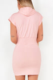 Cass Pink 'Cleveland' Hooded T-Shirt Dress