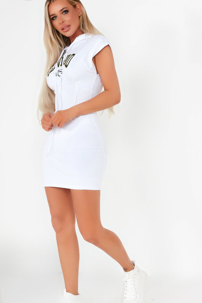 Cass White 'Cleveland' Hooded T-Shirt Dress