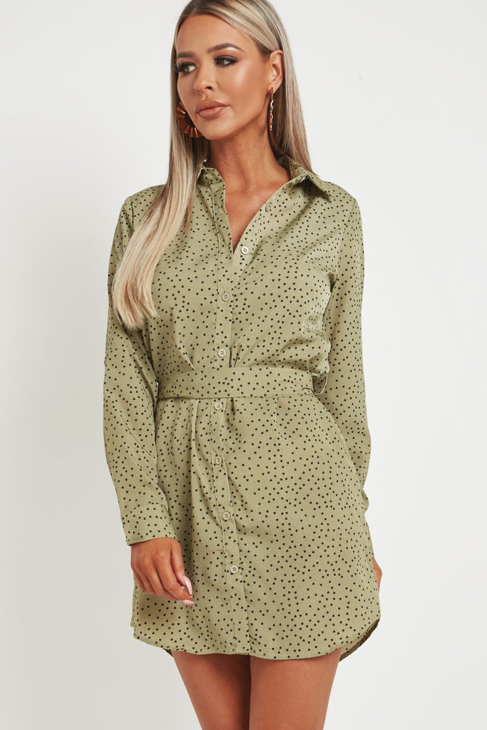 Cassie Khaki Love Heart Shirt Dress