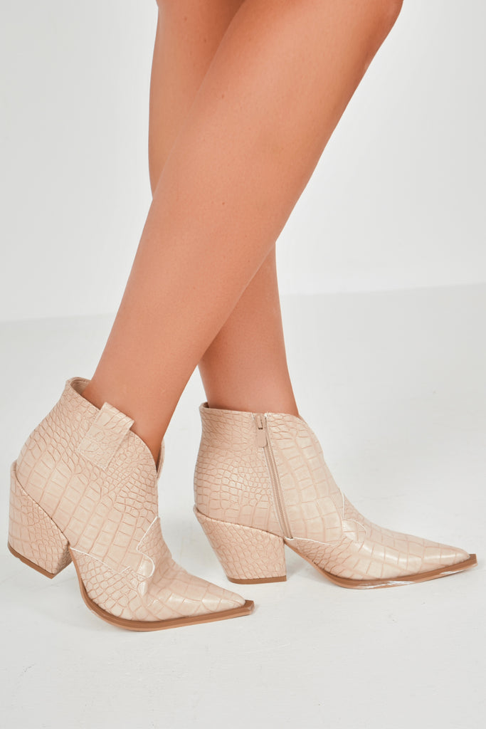 Catalina Beige Croc Western Ankle Boots