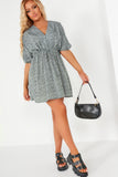 Cate Duck Egg Spotted Drawstring Waist Dress