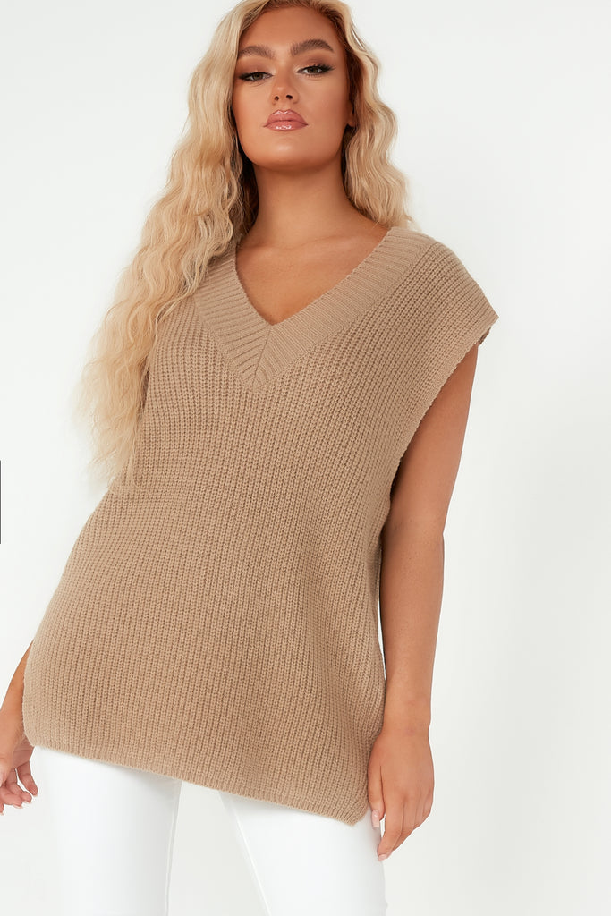 Cathy Camel V Neck Knit Pullover