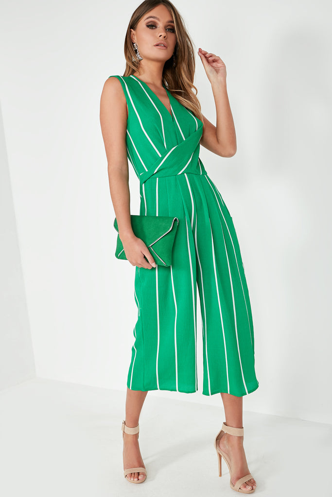 Caz Green Striped Sleeveless Jumpsuit
