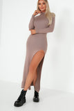 Cazz Mocha Knit Split Maxi Dress