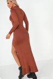 Cazz Rust Knit Split Maxi Dress