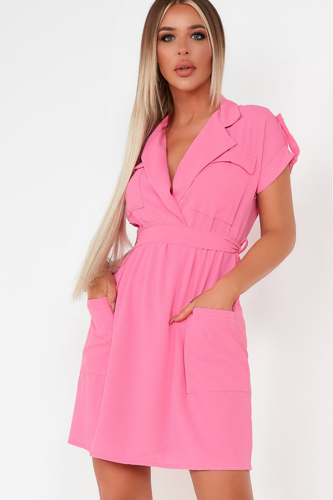 Ceara Pink Utility Belted Shirt Dress