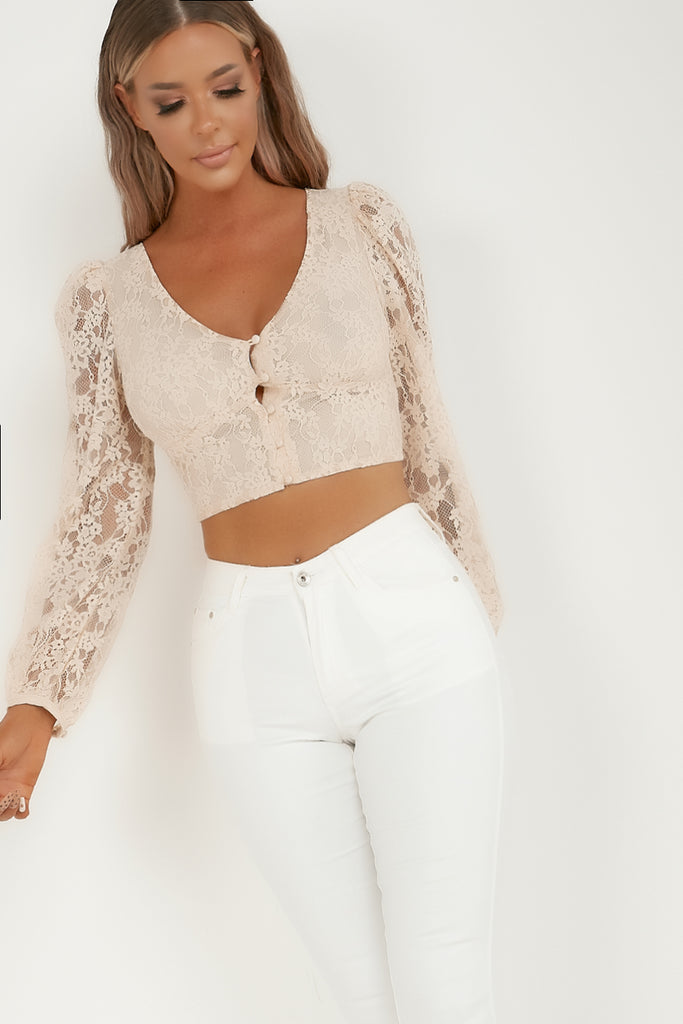 Ceila Nude Lace Button Front Crop Top