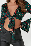 Ceile Green Leopard Tie Front Crop Top
