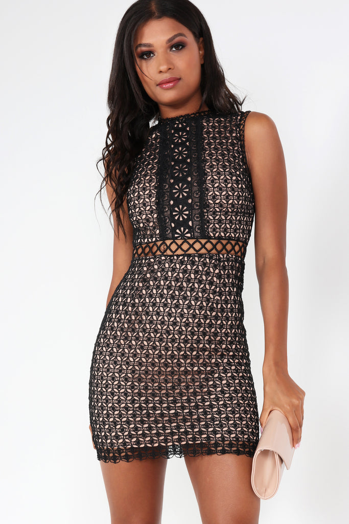 Celia Black and Nude Crochet Dress