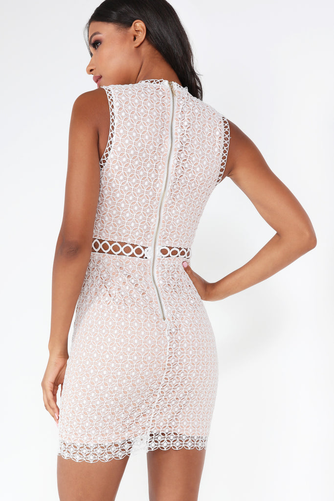 Celia White and Nude Crochet Dress