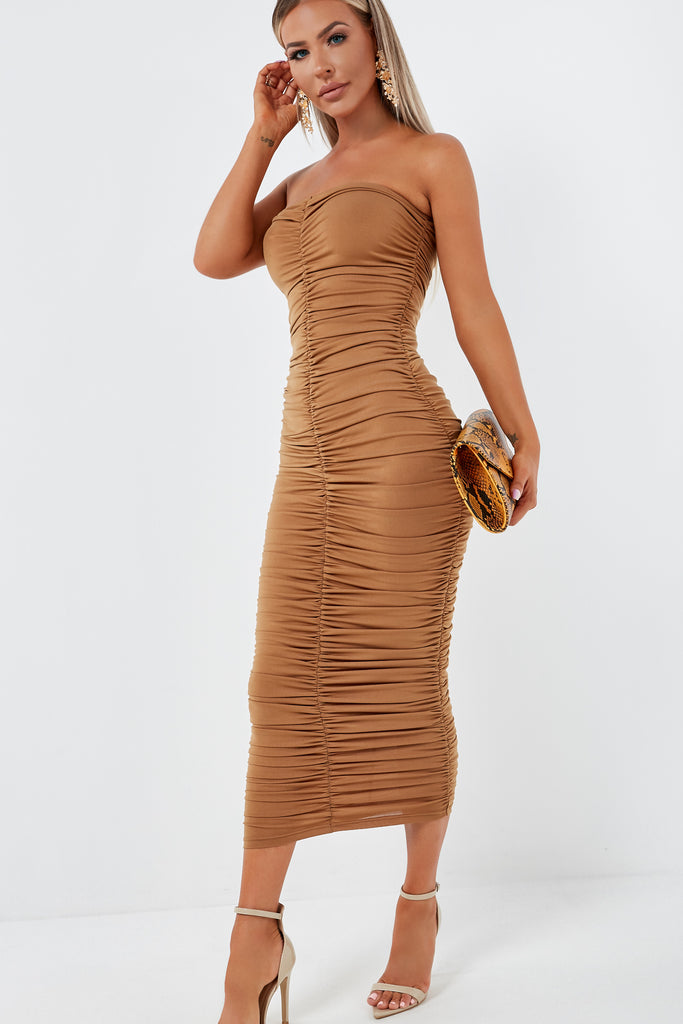 Celina Tan Ruched Bandeau Dress
